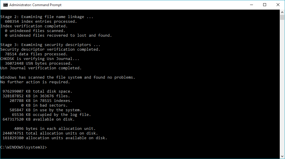 CHKDSK command in Windows 10
