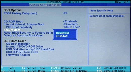 Secure Boot Option in Bios