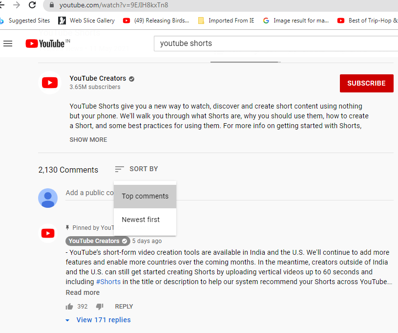 Sort-by Comments on Youtube
